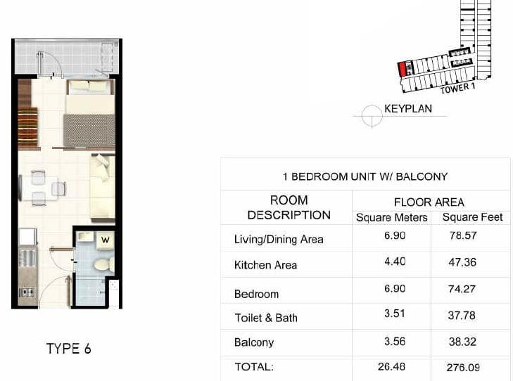 1 BR Unit + Balcony