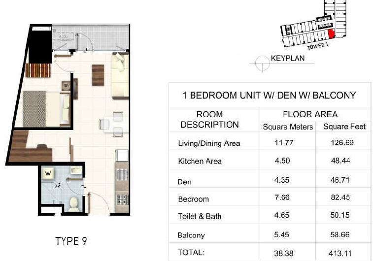 1 BR Unit + Den + Balcony