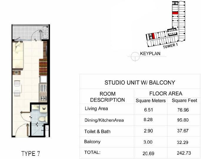 Studio Unit + Balcony