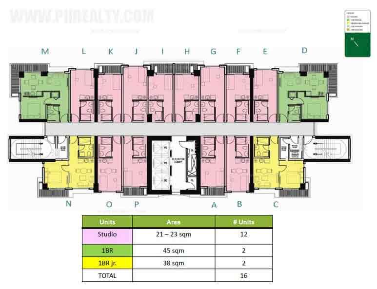 Level 1-3 & 5 Floor Plan