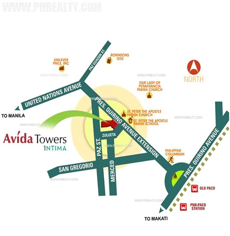 Avida Towers Intima Location