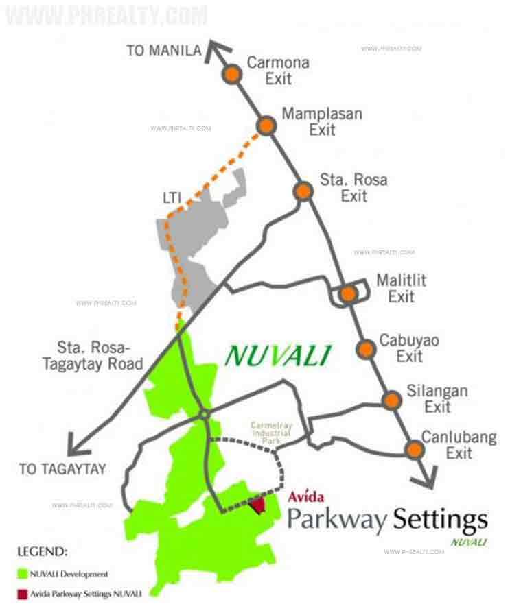 Avida Parkway Settings Nuvali Location