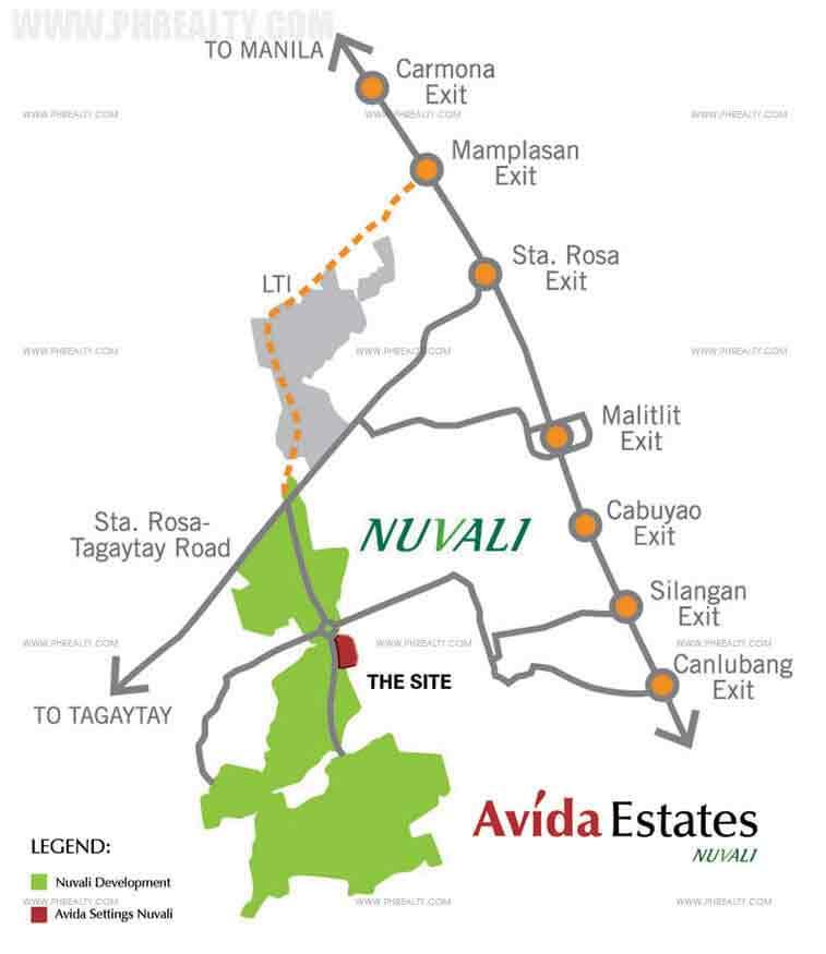 Avida Ridgeview Estates Nuvali Location