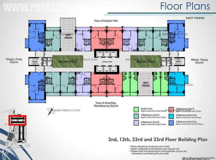 East Tower 2nd, 12th, 23rd, 33rd Floor Building Plan