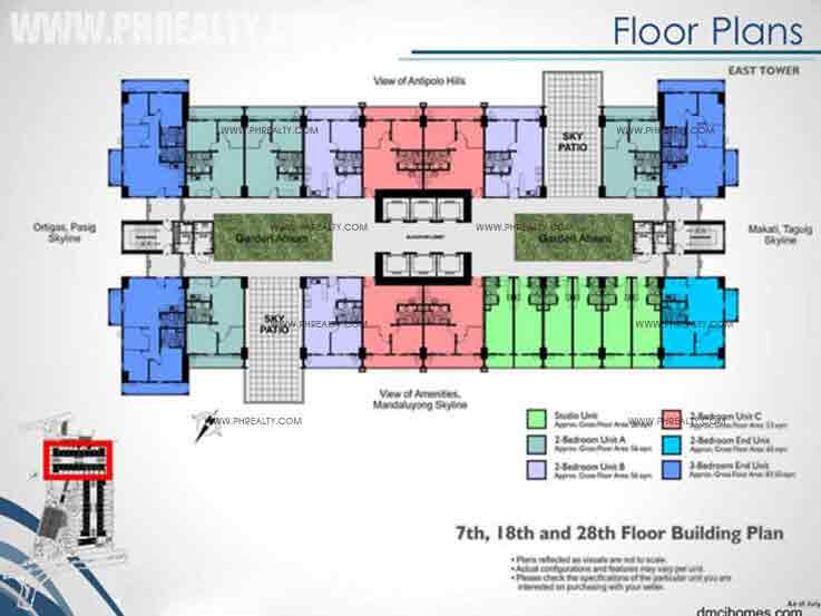 East Tower 7th, 18th, 28th Floor Building Plan