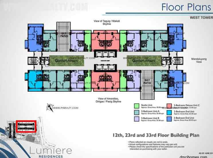 West Tower 12th, 23rd, 33rd Floor Building Plan