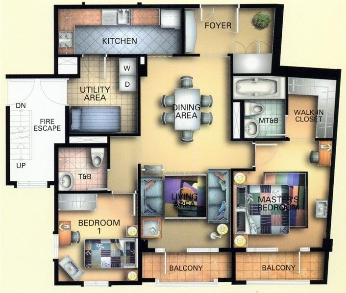 1 Bedroom- Unit Plan