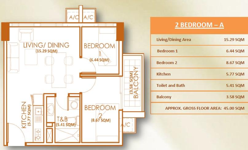 2 Bedroom Unit - A