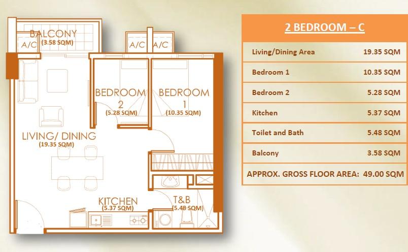 2 Bedroom Unit - C