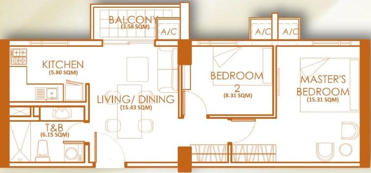 2 Bedroom Unit - E