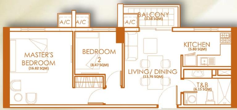2 Bedroom Unit - F