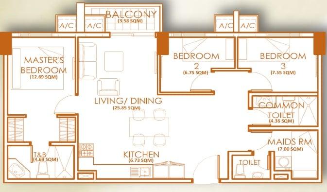 3 Bedroom Unit - A