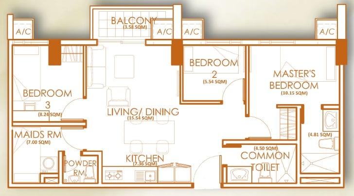 3 Bedroom Unit - B