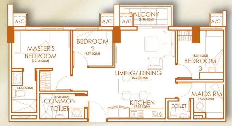 3 Bedroom Unit - D