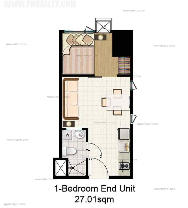 1 Bedroom End Unit