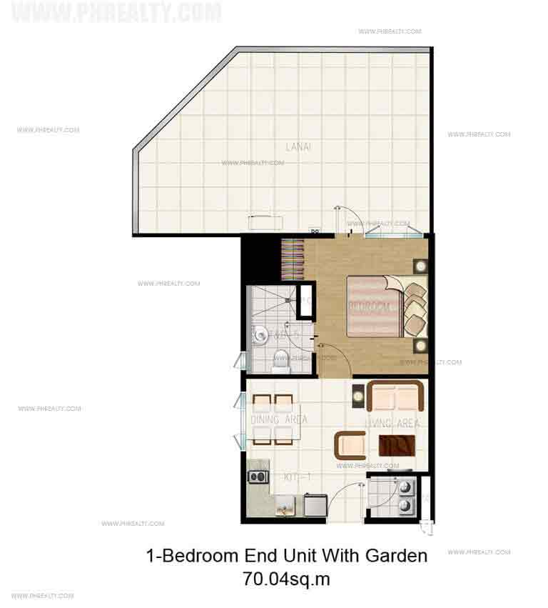 1 Bedroom End Unit with Garden