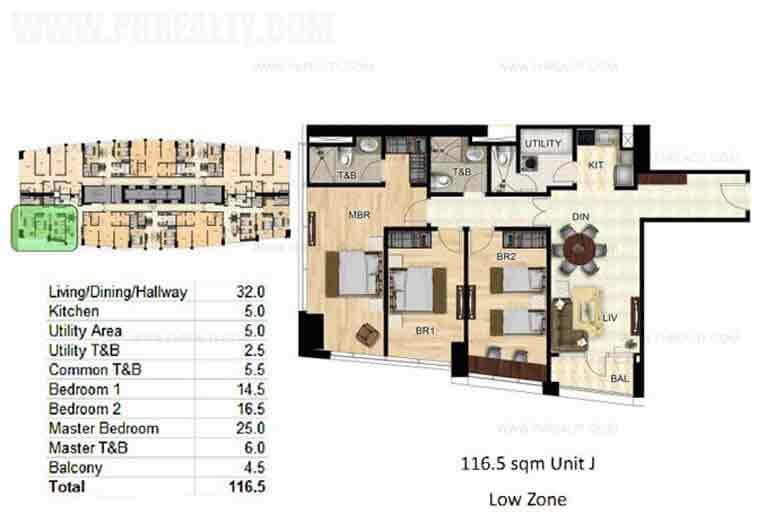 2 Bedroom Unit Layout