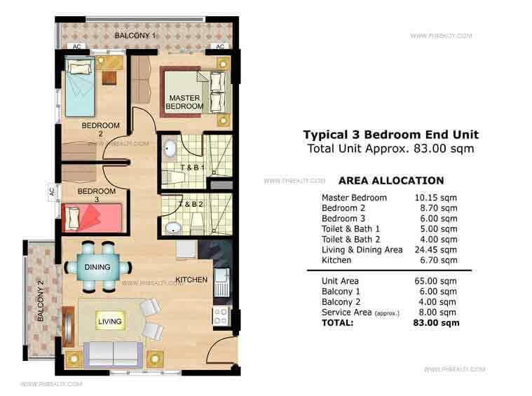 Palmetto 3 Bedroom End Unit