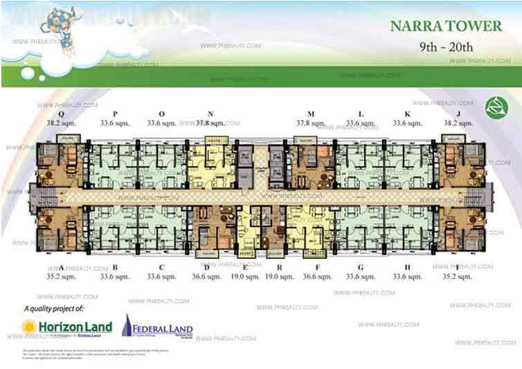 9th to 20th Floor Plan
