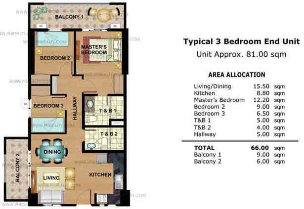 Typical 3 Bedroom End Unit
