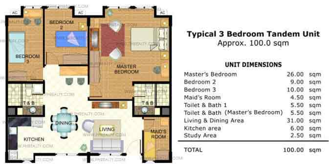 Typical 3 Bedroom Tandem Unit