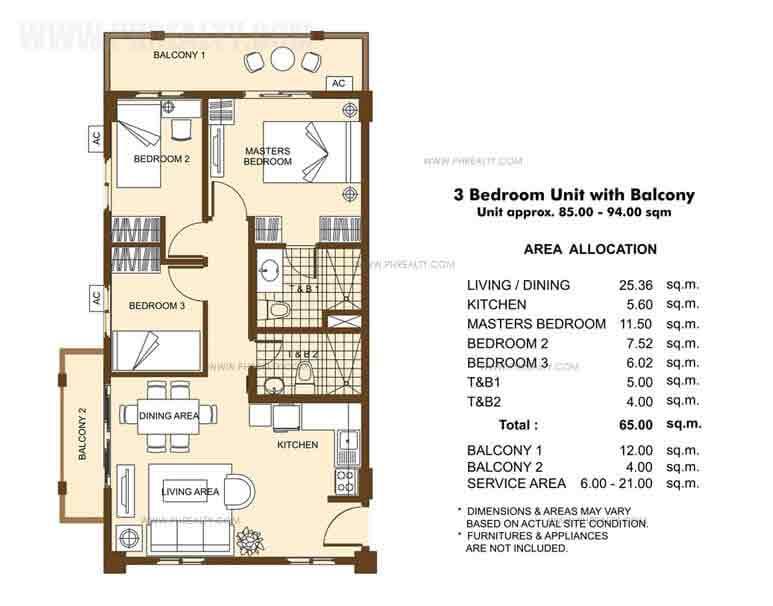 Unit with Balcony -3 Bedroom