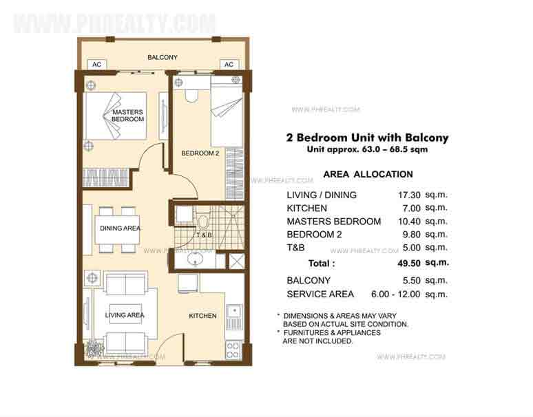 Unit with Balcony -2 Bedroom