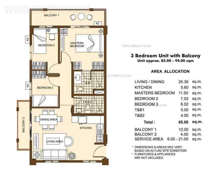 Unit with Balcony- 3 Bedroom
