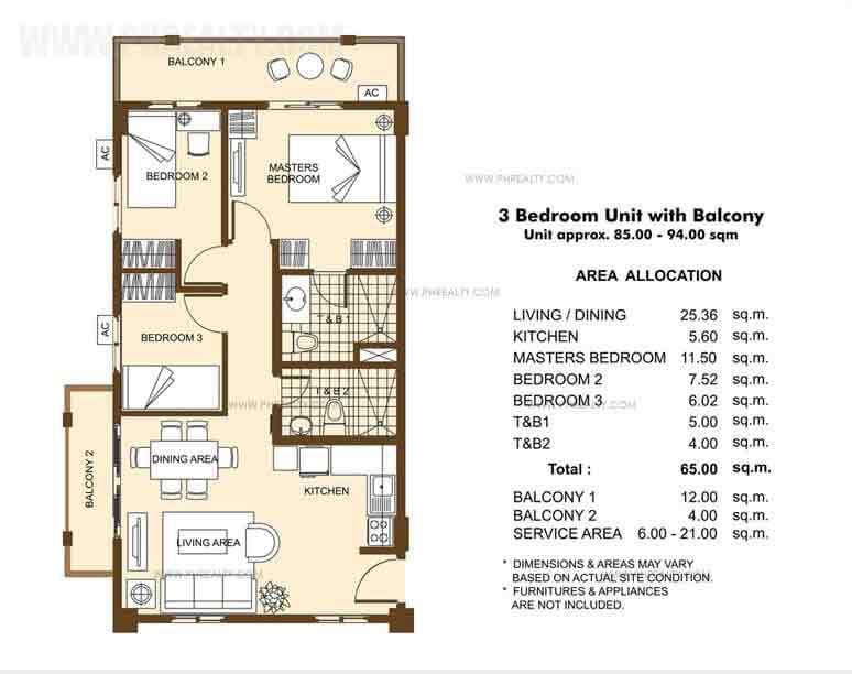 Unit with Balcony- 3 Bedroom