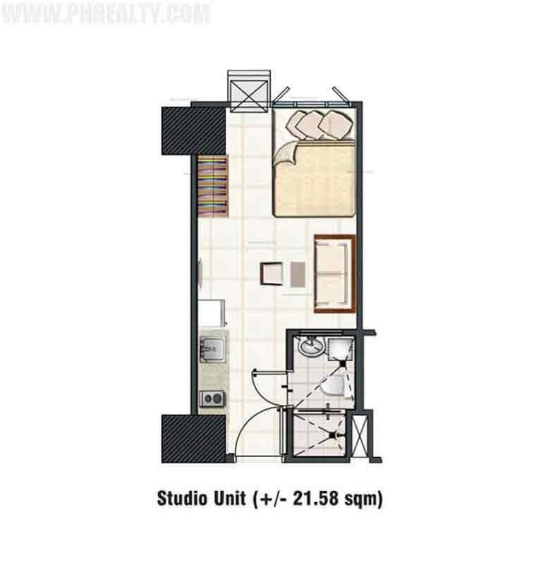 1 Bedroom Deluxe Garden Unit A-1 Layout
