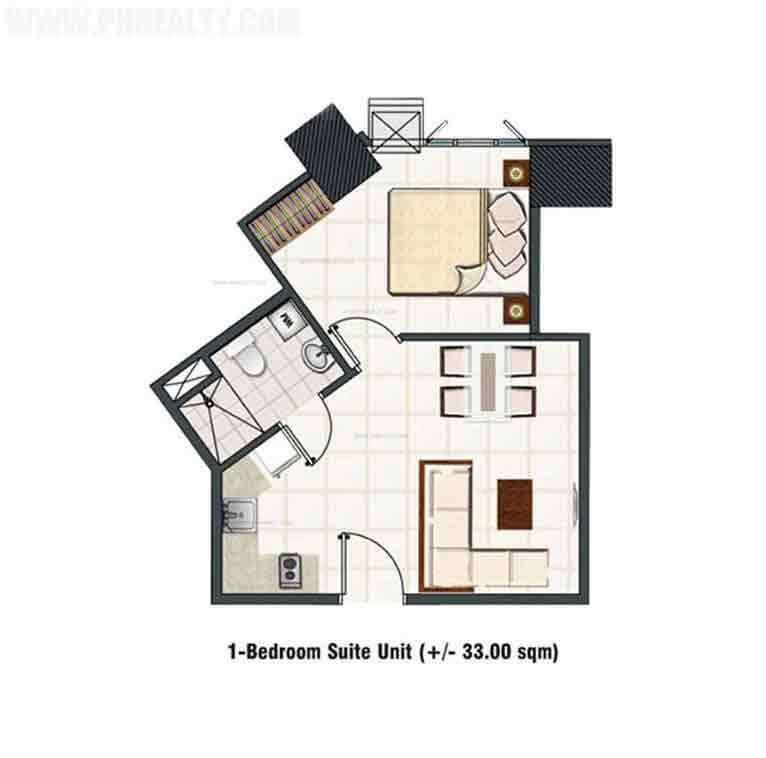 1 Bedroom Deluxe Garden Unit B-1 Layout