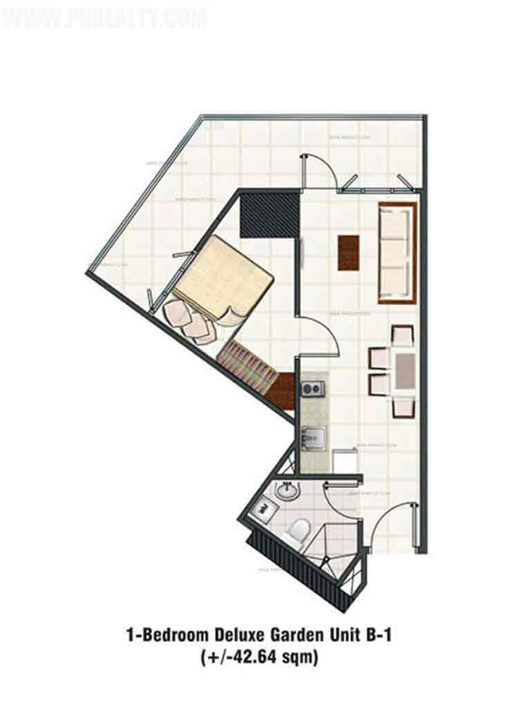 1 Bedroom Deluxe Unit C Layout