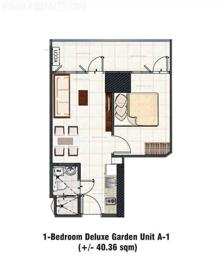 Studio with Garden Unit Layout