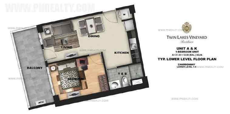 Unit A & K - Typical Lower Level Floor Plan
