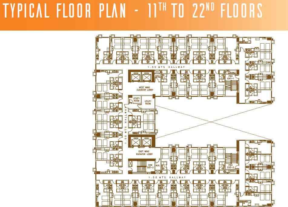 Typical Floor Plan - 11th - 22nd Floors
