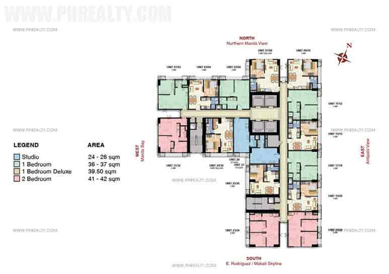 8th,19th,29th,33rd and 34th,42nd floor plan