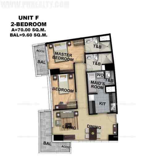 Unit F 2 Bedroom