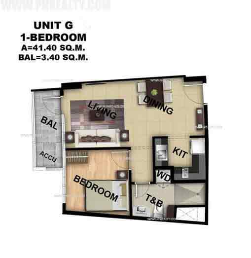 Unit G 1 Bedroom