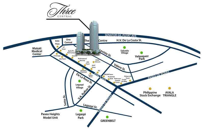 Three Central Makati Location