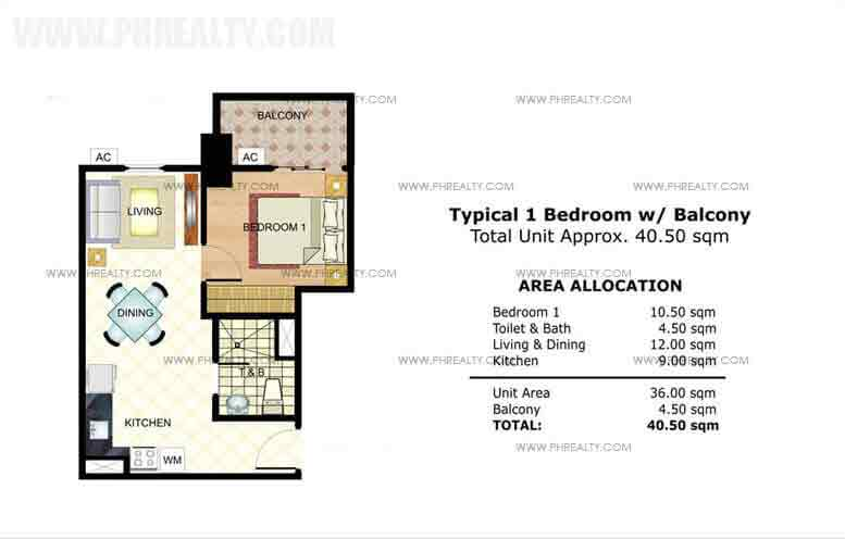 Typical 1 Bedroom with Balcony