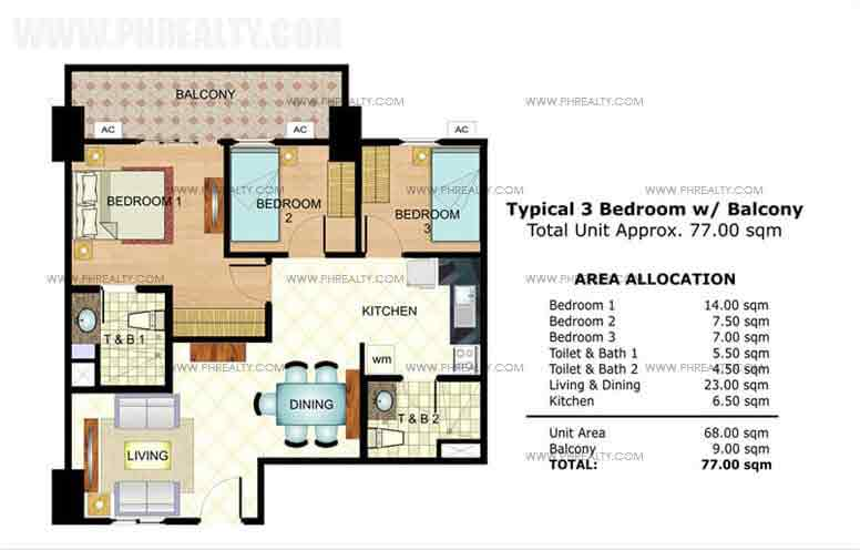 Typical 3 Bedroom with Balcony