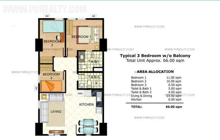 Typical 3 Bedroom without Balcony