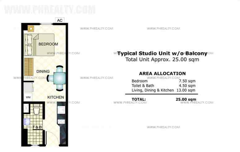 Typical Studio Unit without Balcony