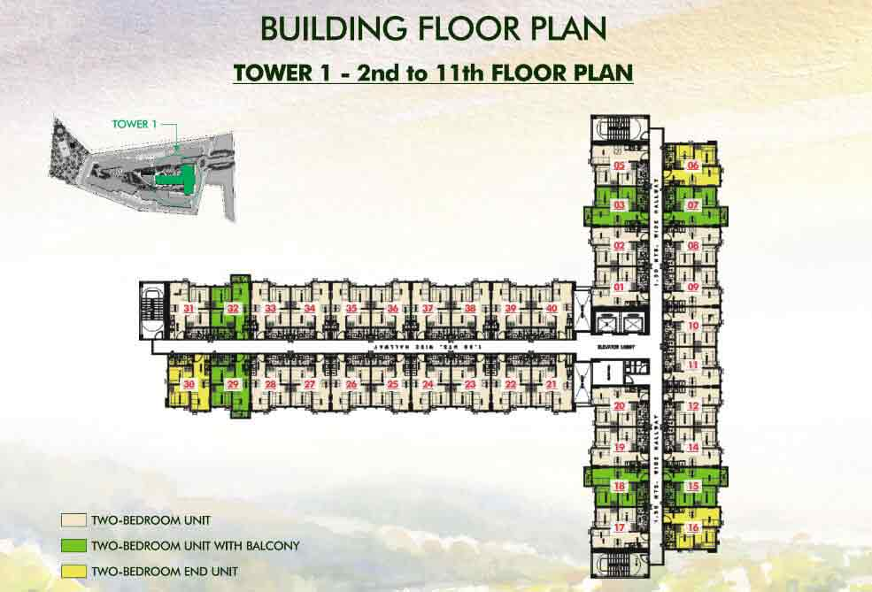 Tower 1 - 2nd to 11th Floor Plan