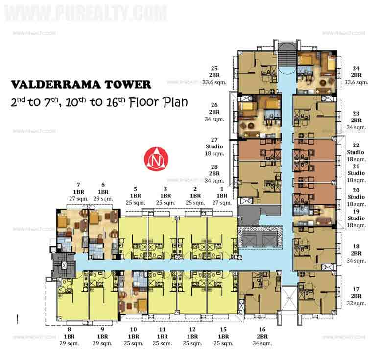 2nd to 7th,10th to 16th Floor Plan