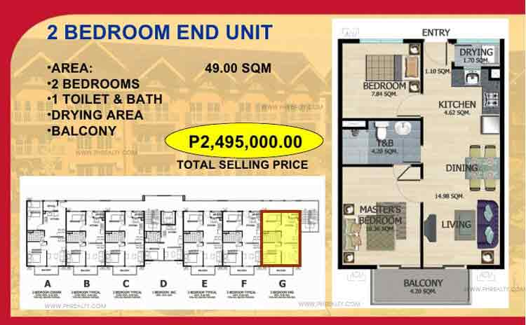 Two Bedroom End Unit