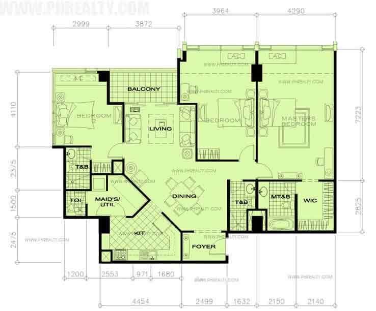 34th Floor-3 Bedroom+Balcony
