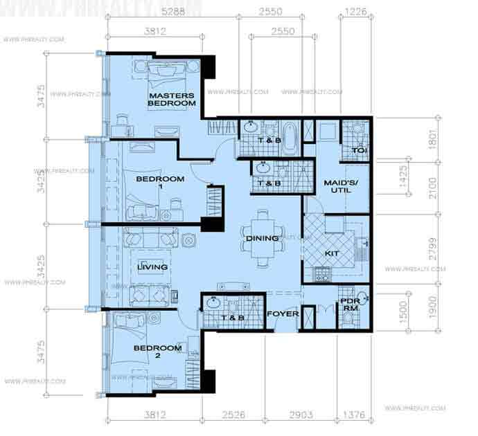 34th Floor-3 Bedroom
