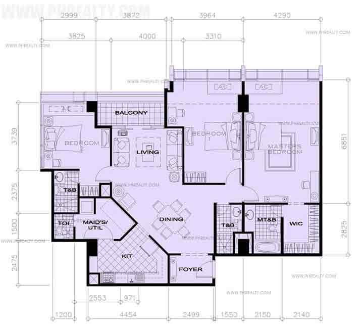 35th Floor-3 Bedroom+Balcony