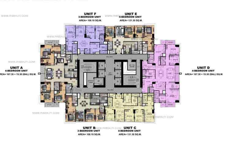 Typical 40Th To 45Th Floor Plan